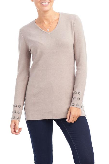 V-Neck Grommet Trim Sweater, Brown, hi-res