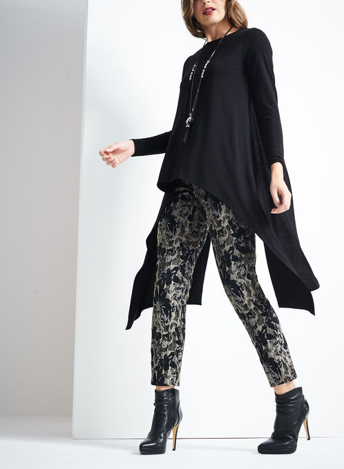 Panelled Asymmetrical Tunic , Black, hi-res