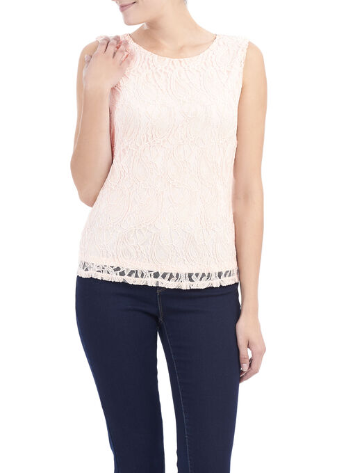 Linea Domani Sleeveless Lace Top, Pink, hi-res