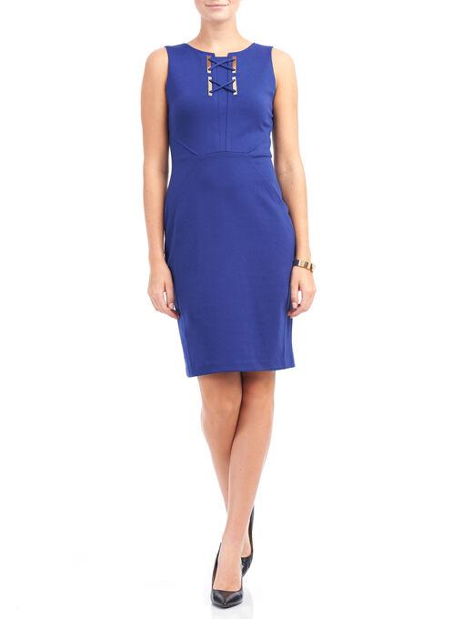 Ivanka Trump Crisscross Detail Dress, Blue, hi-res