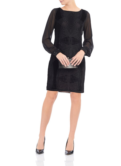 Ivanka Trump Velvet Dress, Black, hi-res