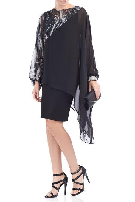 Simon Chang Printed Chiffon Dress, Black, hi-res
