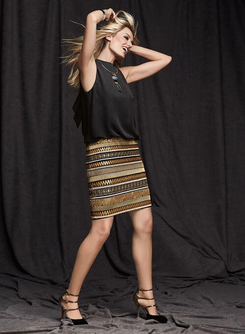 Aidan Mattox Sequin Blouson Dress, Black, hi-res