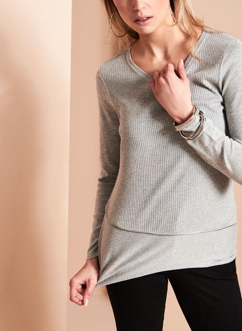 Asymmetrical Zipper Trim Sweater, Grey, hi-res