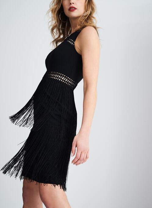 Sleeveless Sheath Dress with Crochet and Fringe Details, Black, hi-res