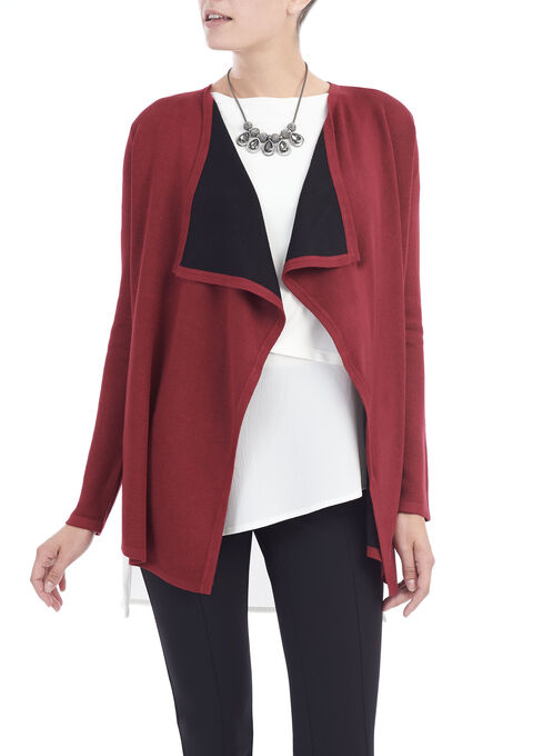 Long Sleeve Knit Asymmetrical Cardigan , Red, hi-res