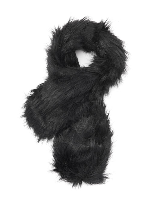 Oblong Faux Fur Scarf, Black, hi-res