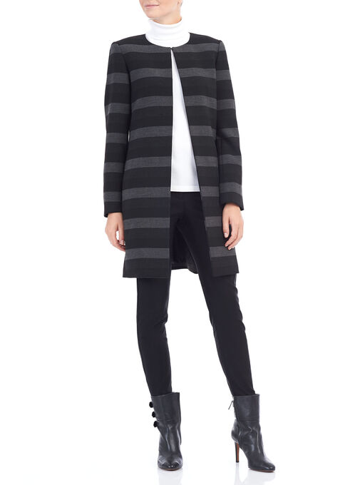 Tahari Stripe Print Jacket , Black, hi-res