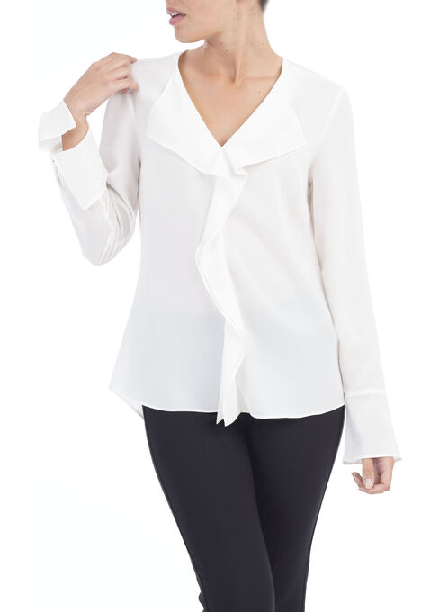 Solid Front Frill Blouse, Off White, hi-res