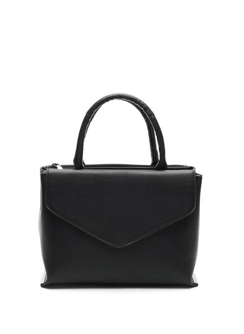 Faux Leather Envelope-Style Satchel Bag, Black, hi-res