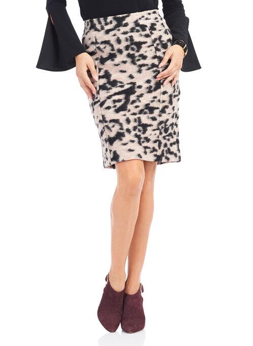 Animal Print Pencil Skirt , Black, hi-res