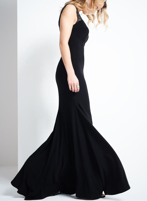 Metallic Lace Evening Gown, Black, hi-res