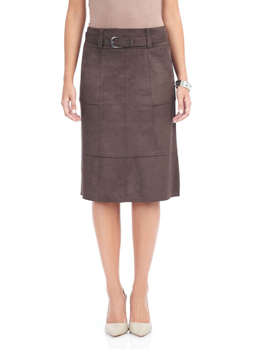 Belted A-Line Faux Suede Skirt , Brown, hi-res