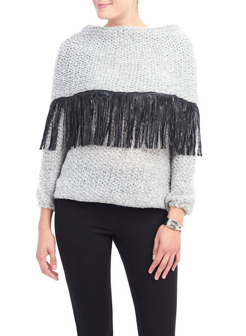 Fringed Collar Knit Sweater, Grey, hi-res