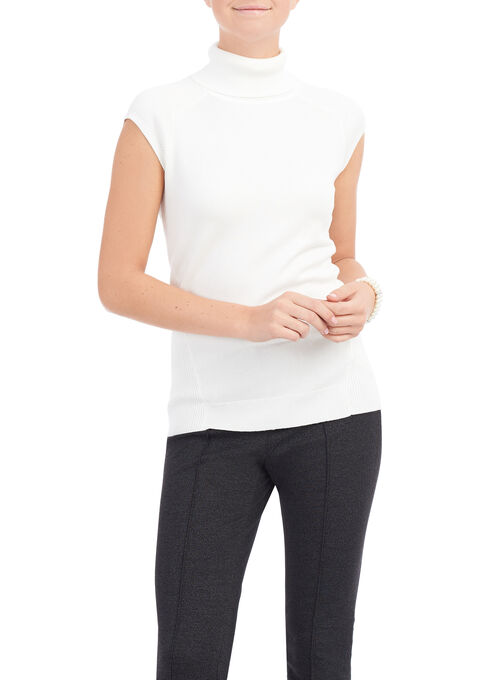 Extended Sleeve Knit Turtleneck Top, Off White, hi-res