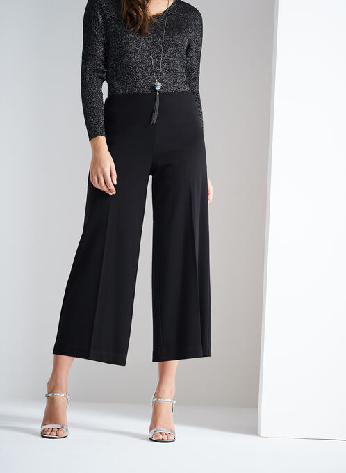 Ponte Culotte Pants , Black, hi-res