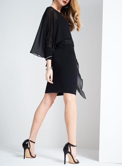 Simon Chang Chiffon Overlay Dress, Black, hi-res