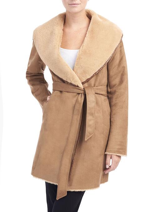 Faux Shearling Wrap Coat , Brown, hi-res