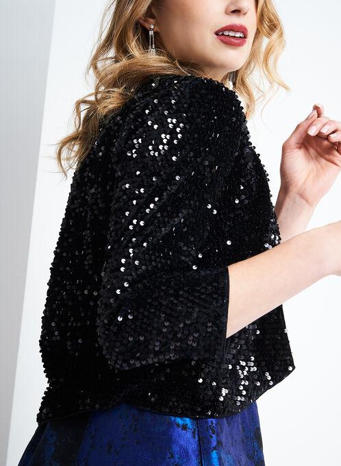 Chetta B Sequined Velvet Bolero, Black, hi-res