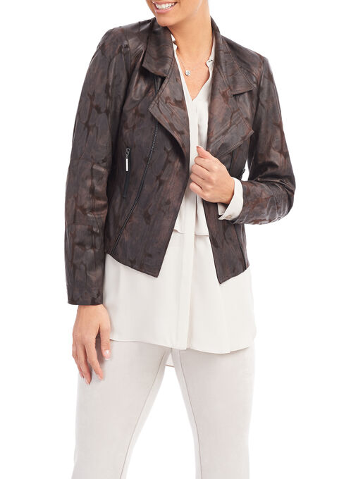 Vex Faux Leather Blazer, Brown, hi-res