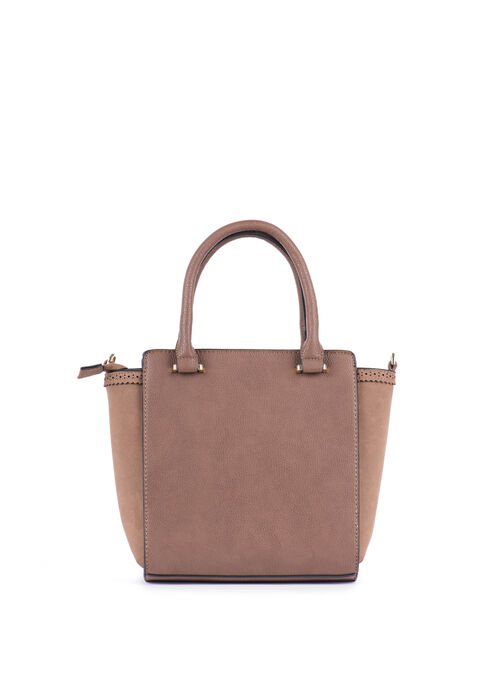 Faux Leather Tote , Brown, hi-res