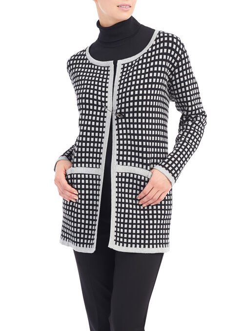 Windowpane Print Knit Cardigan, Black, hi-res