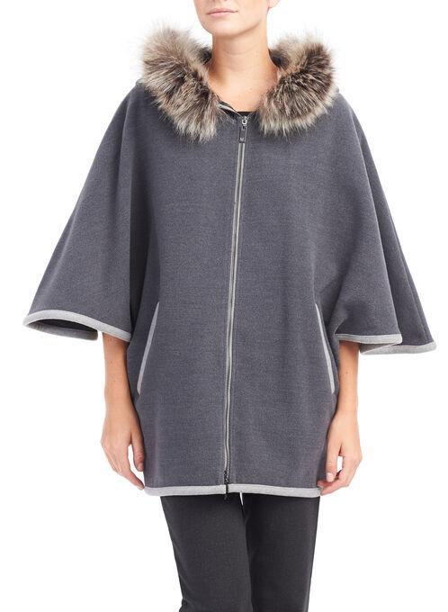 Faux Wool Cape with Fun Fur Trim Hood, Grey, hi-res