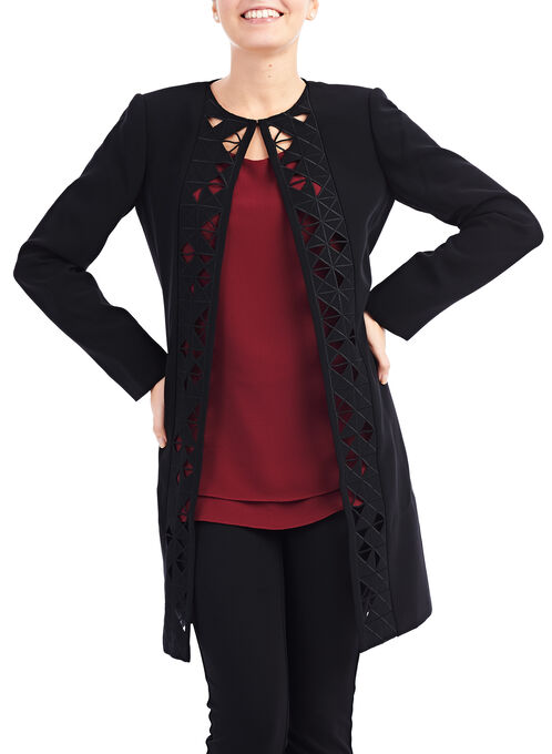 Tahari Cutout Jacket , Black, hi-res
