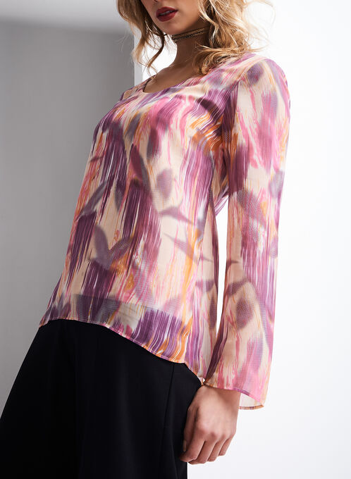 Long Sleeve Abstract Print Blouse, Multi, hi-res