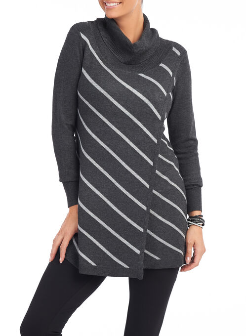 Printed Cowl Neck Tunic Sweater, Grey, hi-res