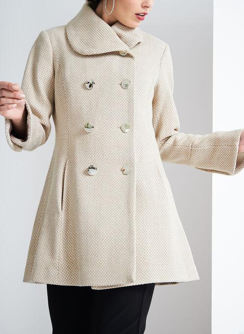 Jessica Simpson Basketweave Print Coat, Brown, hi-res