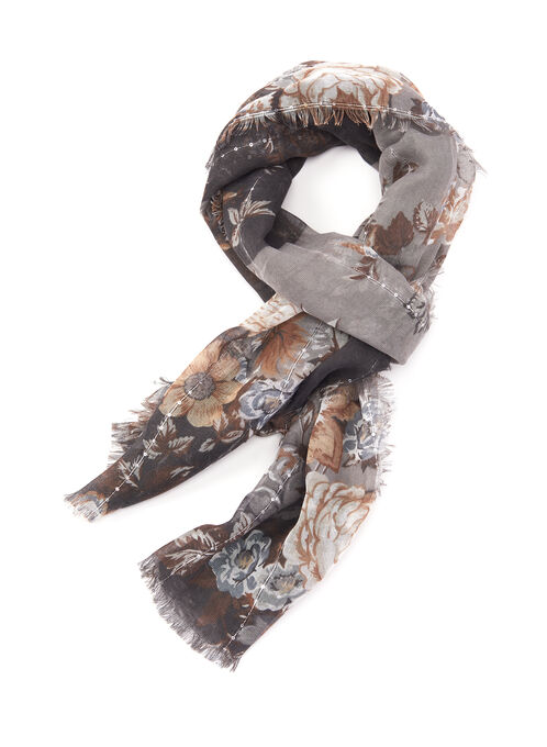 Sequin Floral Print Scarf, Off White, hi-res
