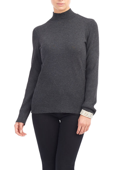 Mock Neck Ribbed Sweater, Grey, hi-res
