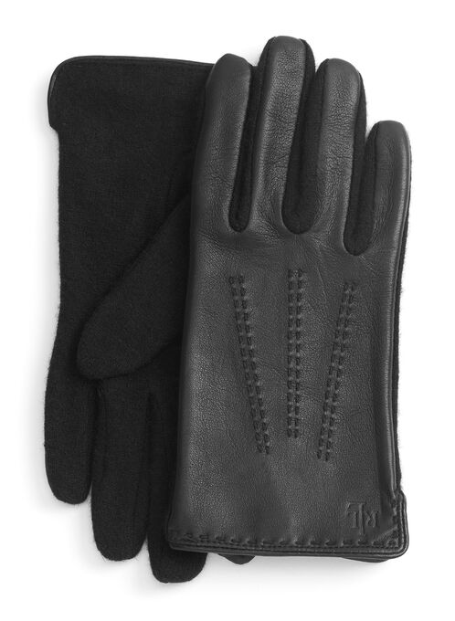 Contrast Stitch Sheepskin & Wool Gloves, Black, hi-res