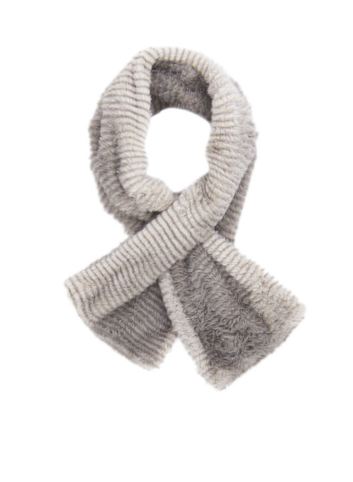 Faux Fur Pull Through Scarf, Brown, hi-res