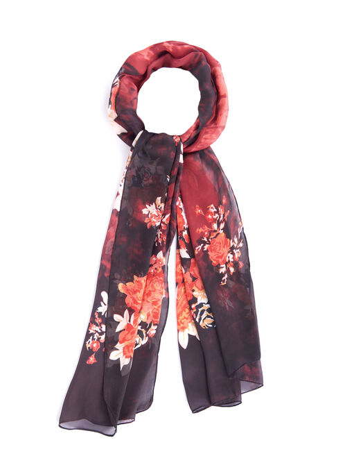 Rose Print Oblong Scarf, Red, hi-res