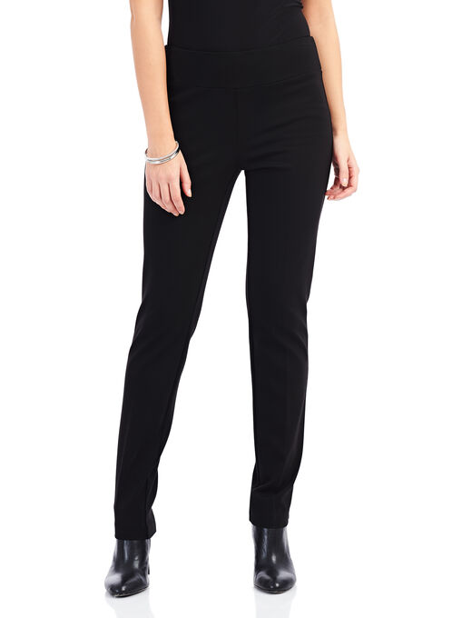 Pull-On Scuba Straight Leg Pants , Black, hi-res