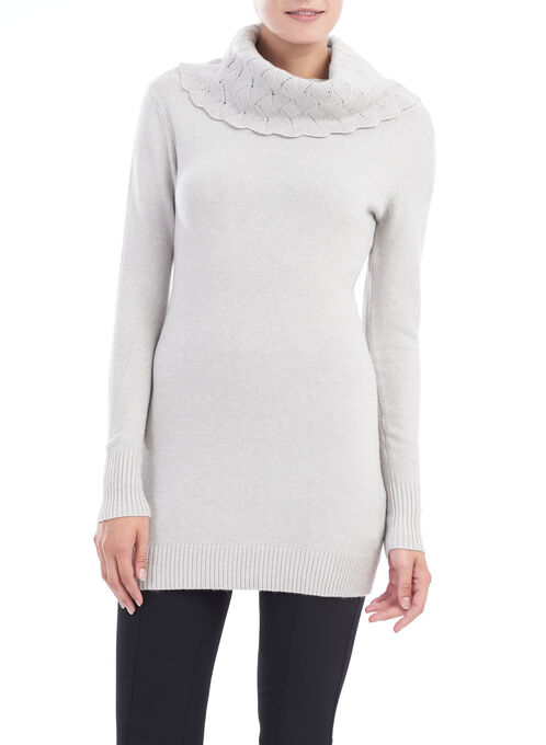 Pointelle Oversized Collar Tunic , Grey, hi-res