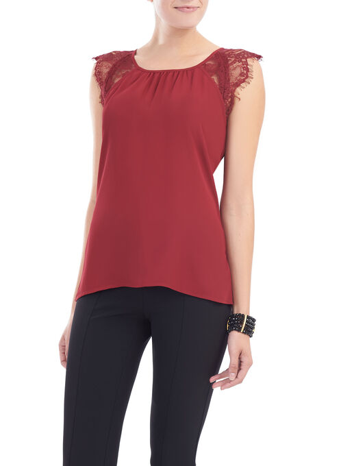 Lace Cap Sleeve Blouse, Red, hi-res