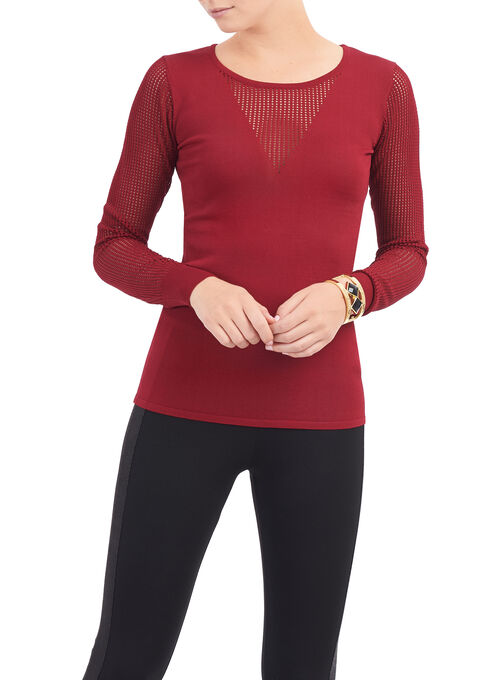 Scoop Neck Illusion Sweater , Red, hi-res