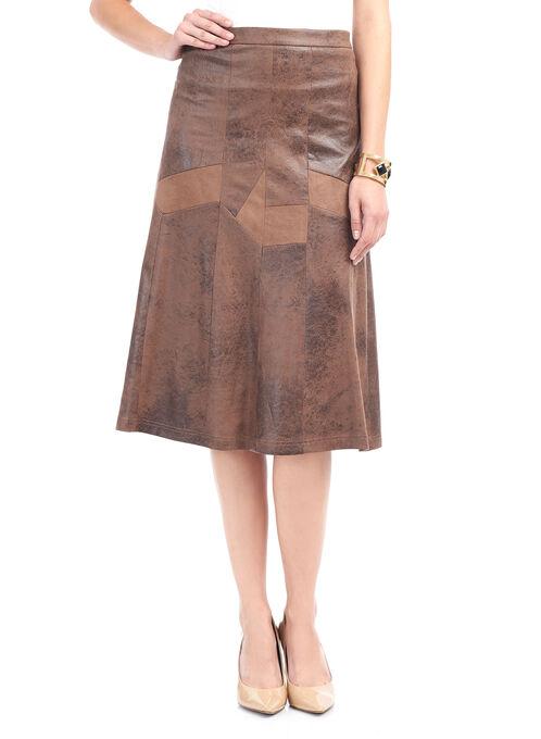 Vex Patchwork Detail A-Line Skirt , Brown, hi-res