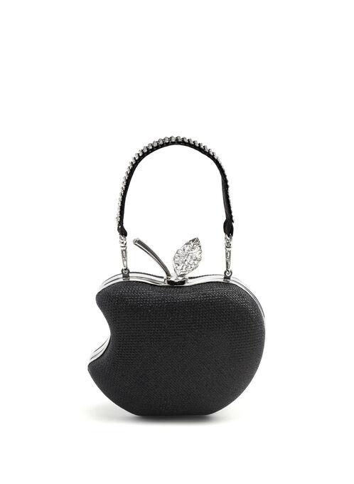 Jewel & Metallic Clutch , Black, hi-res