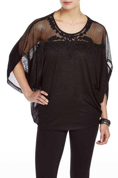 Embroidered 3/4 Sleeve Poncho Top, Black, hi-res