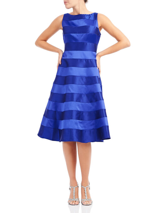Adrianna Papell Banded Fit & Flare Dress, Blue, hi-res