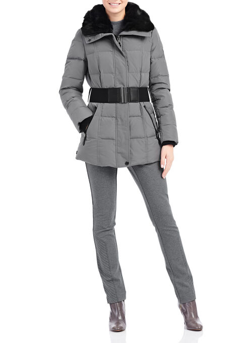 Novelti Faux Fur Down Jacket , Grey, hi-res