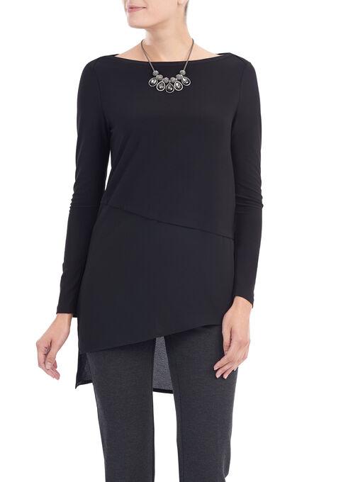 Asymmetrical Crêpe Tunic Top, Black, hi-res