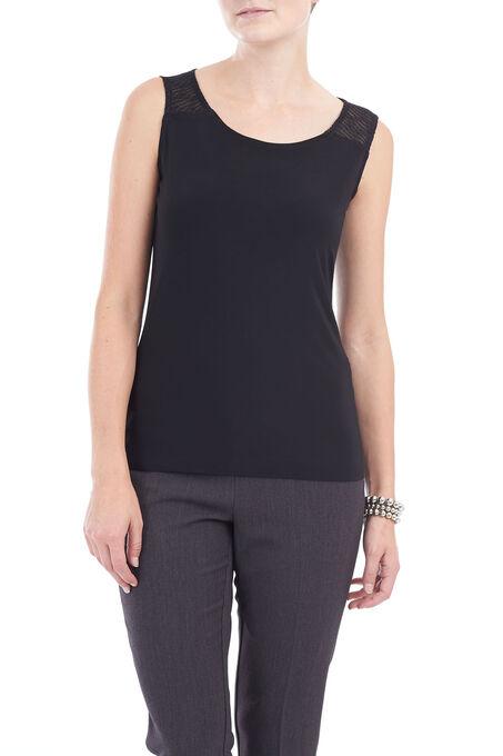 Sleeveless Lace Detail Top, Black, hi-res