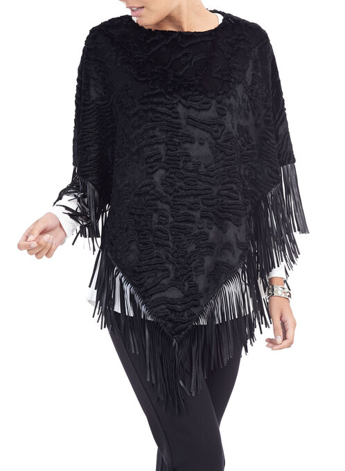 Leather Fringe Persian Poncho, Black, hi-res