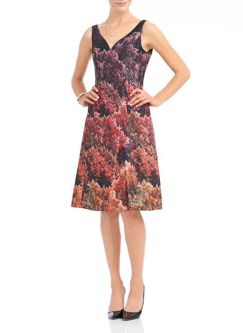 Adrianna Papell Printed A-Line Dress, Multi, hi-res
