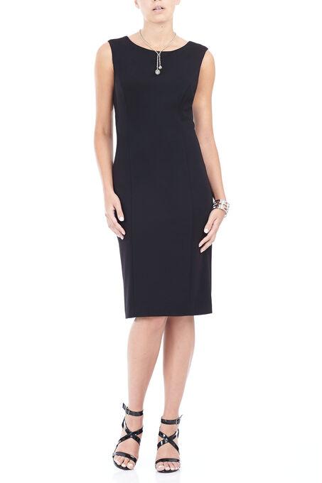 Trisisto Sleeveless Ponte Dress, Black, hi-res